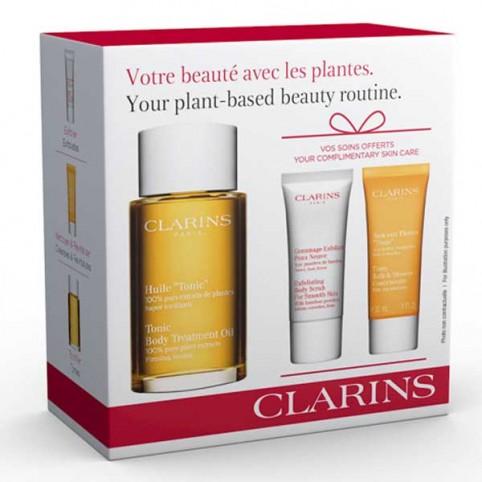 Estuche Clarins Aceite Tónico + Exfoliante Piel + Baño Tónico - CLARINS. Perfumes Paris
